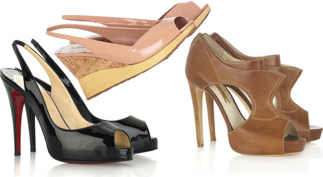 Open-toe/Slingback shoes, wedges, cut-out shoes