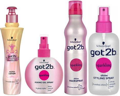 got2b sparkling gel spray smoot shic Got2b Smooth & Chic na uhladenie vlasov a got2b Sparkling pre lesk