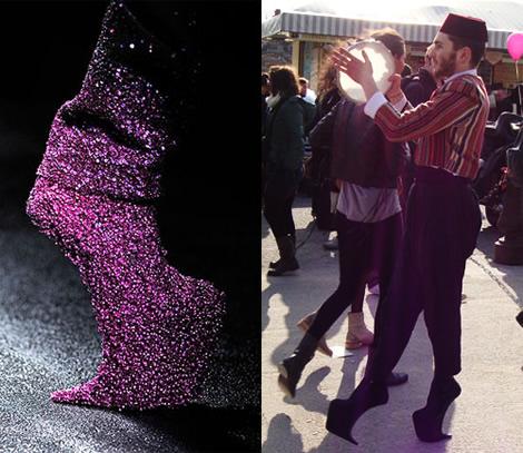 Topánky Niny Ricci z módnej prehliadky a na pouličnom zabávačovi ...