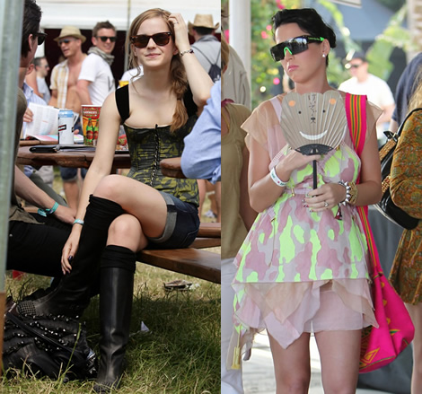 emma katy Emma Watson a Katy Perry: Oblečené na festival v značke Louis Vuitton