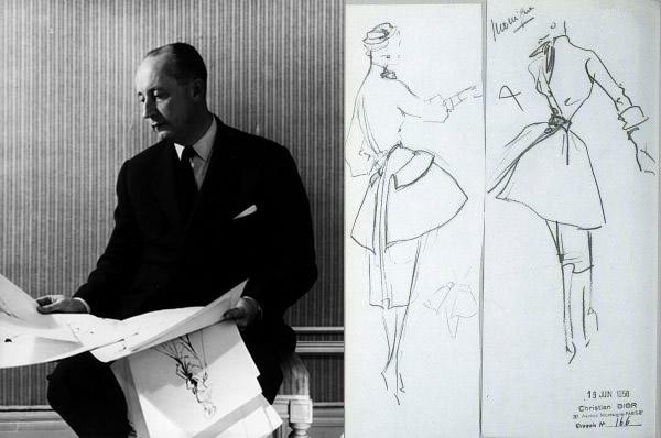 Christian Dior a náčrty jeho modelov.