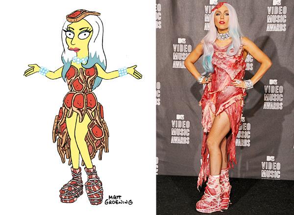 lady gaga simpsons meat dress 3 Lady Gaga v Simpsonovcoch s novým šatníkom