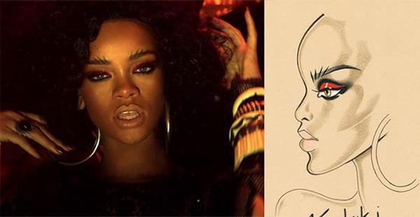 rihanna where have you been makeup breakdown Rihannin mystický mejkap v novom videoklipe Where Have You Been