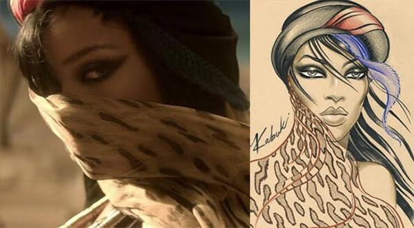 rihanna where have you been makeup kabuki Rihannin mystický mejkap v novom videoklipe Where Have You Been