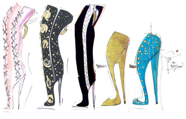 beyonce giuseppe zanotti shoe sketches mrs carter world tour 2013 610x390 Outfity pani Cartrovej
