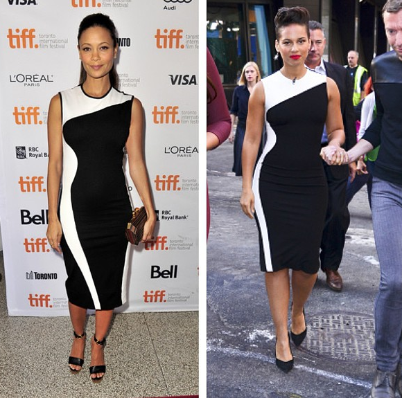 Alicia Keys vs Thandie Newton in Stella McCartneys Wave Colorblock Black And White Stretch Jersey Dress  Hviezdne vojny