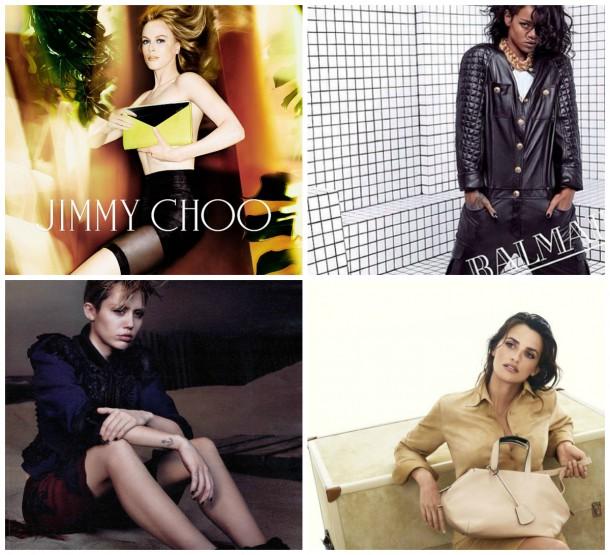 collage 610x555 Kampane 2014: Rihanna, Miley Cyrus, Nicole Kidman,...