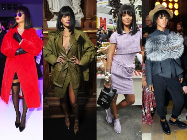Rihanna at Paris Fashion Week Fall 2014 610x457 Top momenty sezóny jeseň/zima 2014