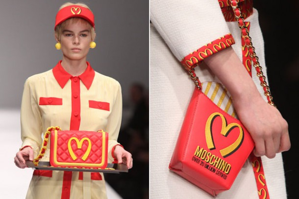 moschino mcdonalds jeremy scott milan fashion week aw14 610x406 Najzaujímavejšie kabelky z jesenných kolekcií 2014