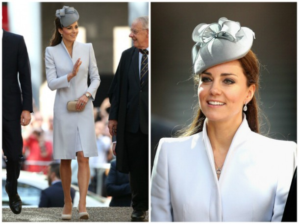 Duchess Of Cambridge  Kate Middleton  Wears Alexander McQueen For Easter Sunday Church in Sydney 1 0 610x457 Michelle Obama vs. Vojvodkyňa z Cambridge