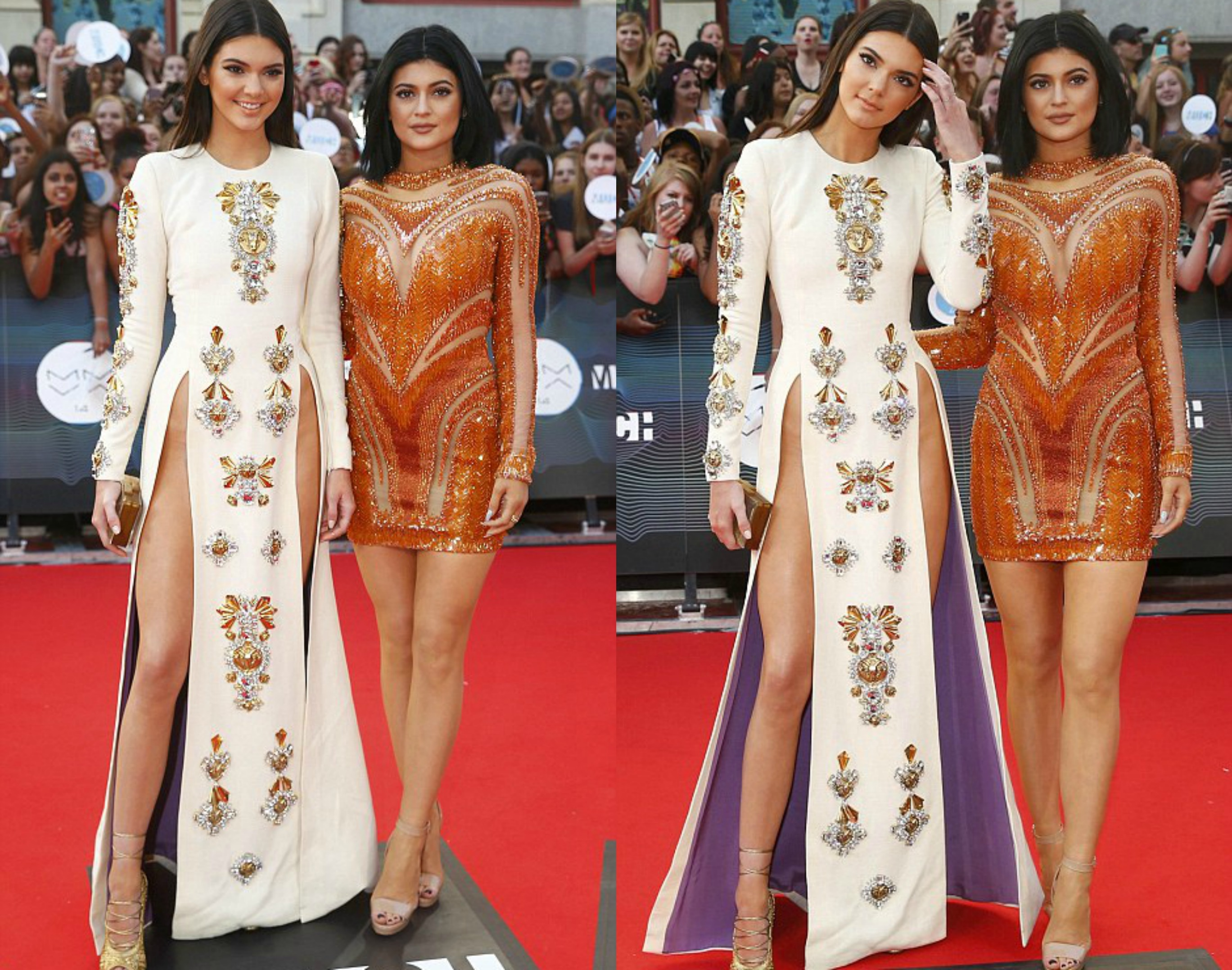 Kendall jenner in fausto puglisi fall 2013 white long sleeved side