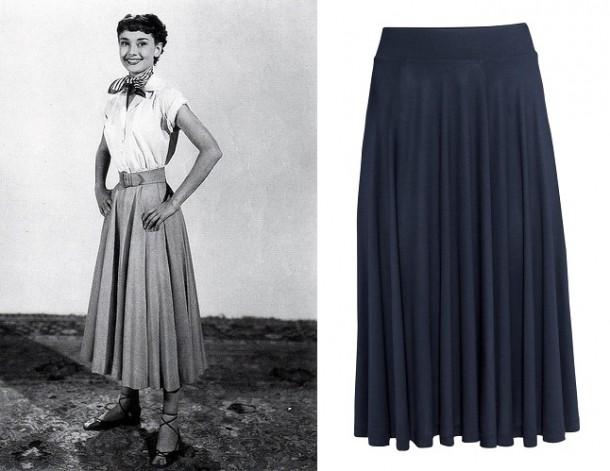 audrey skirt 610x471 Päť klasických Audrey Hepburn kúskov, ktoré váš šatník potrebuje