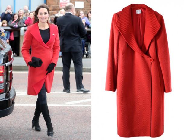 Kate Middleton Armani Coat 610x465 Tehotenský šatník Kate Middleton
