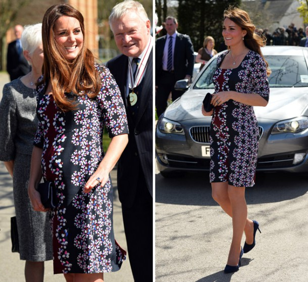 Kate Middleton Wears Erdem Dress To Visit Willows Primary School In Manchester 610x558 Tehotenský šatník Kate Middleton