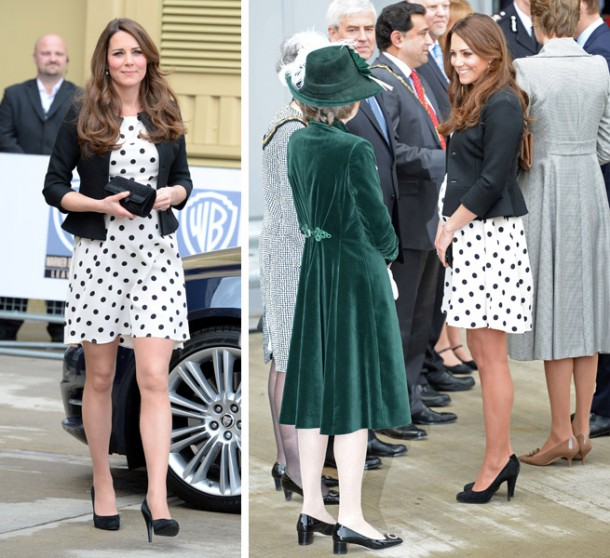 Kate Middleton Wears Monochrome Polka Dot Dress To Inauguration Of Warner Bros. Studios 610x558 Tehotenský šatník Kate Middleton