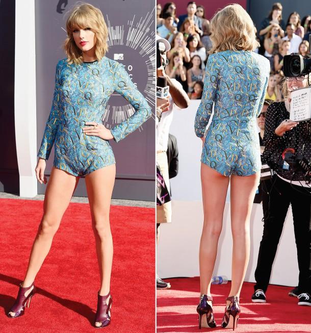 1408935334 taylor swift zoom 610x653 Najhoršie outfity roku 2014