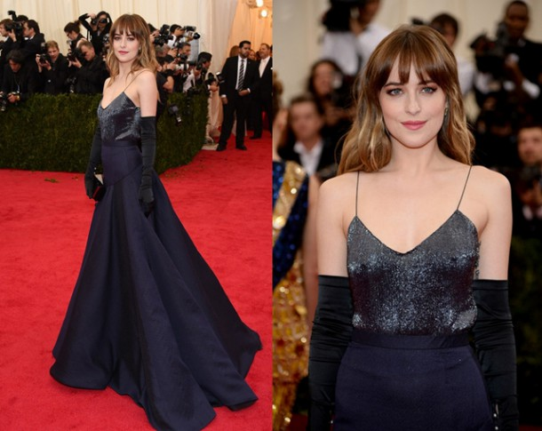 Dakota Johnson Jason Wu 2014 Met Gala 610x485 Dakota Johnson a evolúcia jej štýlu