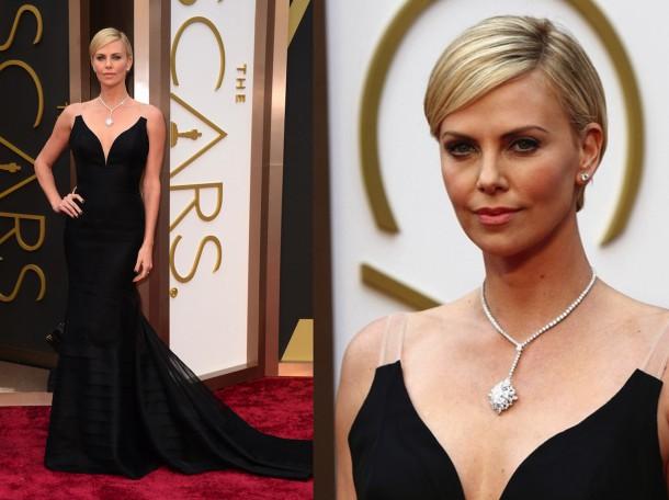 charlize theron oscars jewelry 610x456 Najdrahšie šaty a šperky na Oscaroch