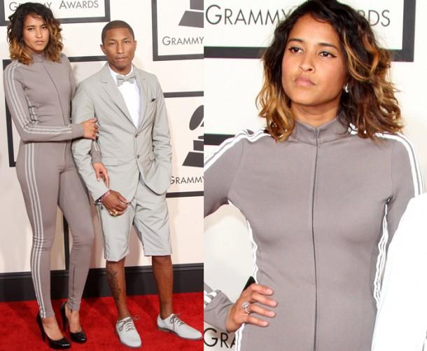 Pharrell Williams and Helen Lasichanh 610x501 Najhoršie februárové outfity