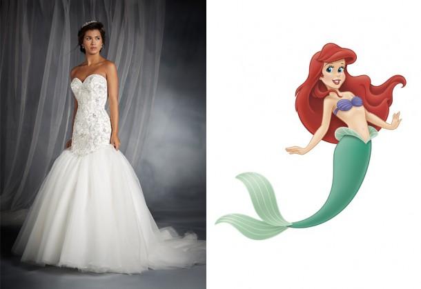 249 ArielWhite 450x633 610x419 Svadobné šaty podľa Disney rozprávok