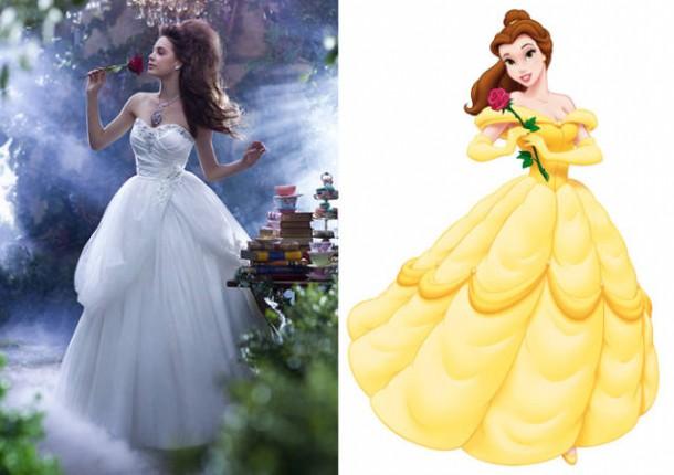 belle 610x430 Svadobné šaty podľa Disney rozprávok