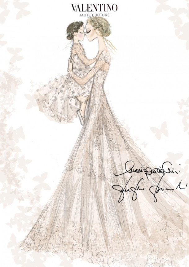 Frida Giannini Wedding Dress Sketch 610x862 Frida Giannini sa vydala