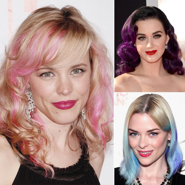 Celebrities Bright Coloured Hair 610x610 Trend: Farbičky čarbičky