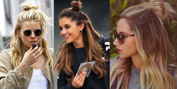 SIENNA MILLER ARIANA GRANDE ASHLEY TISDALE HALF UP TOP KNOT 610x310 Letný trend v účesoch: Half top knot