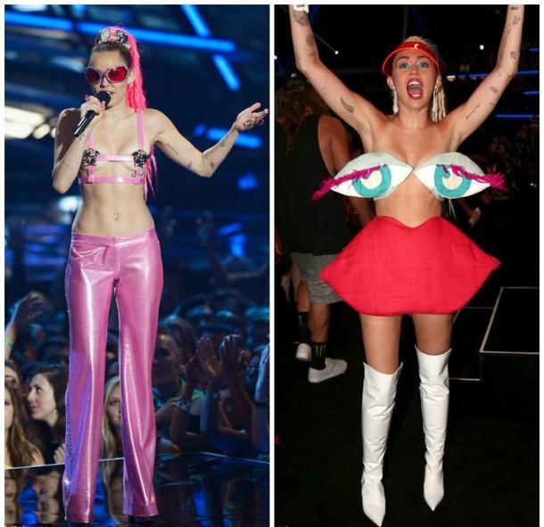 collage2 610x591 Módny (s)hit: Miley Cyrus na MTV VMA 2015