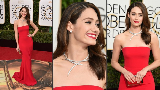 Emmy Rossum Armani Prive 610x343 Najkrajšie róby filmových a televíznych cien Zlatý Glóbus 2016