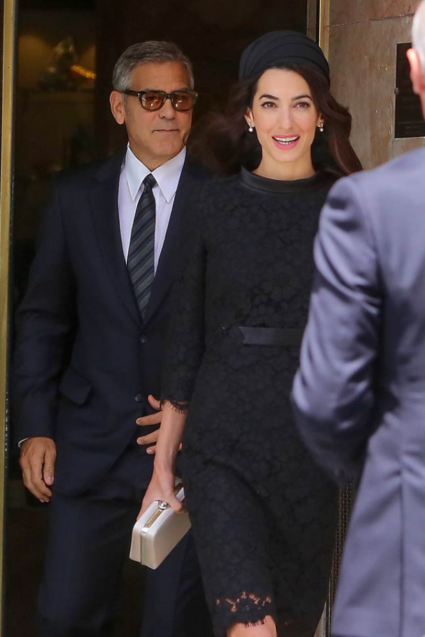 george amal pope 30may16 03 610x914 George Clooney and his wife Amal Alamuddin exit their hotel in Rome