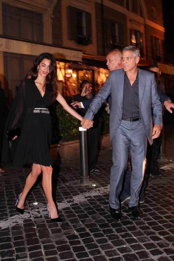 george amal pope 30may16 30 610x914 George and Amal Clooney spending a night out in Rome