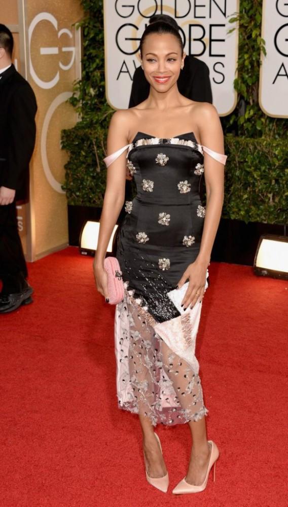 zoe saldana globen globes 2014 red carpet 03 582x1024 568x1000 Najlepšie a najhoršie outfity týždňa