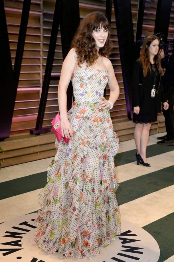 Zooey Deschanel Oscars 2014 Vanity Fair Party 03 610x917 Najlepšie a najhoršie outfity týždňa /Oscary 2014/