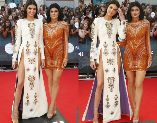 Kendall Jenner In Fausto Puglisi Fall 2013 White Long Sleeved Side Slit Gown at the at MuchMusic HQ Awards 1 610x480 FASHION ICON: Kylie a Kendall Jenner