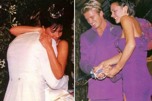 Victoria and David Beckham throwback wedding photo 610x405 15 rokov Bekhamovcov
