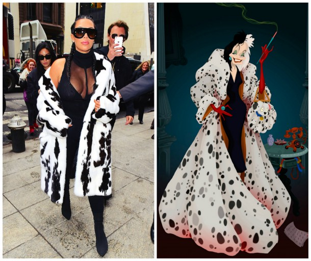 collage1 610x512 Kim Kardashian VS. Cruella de Vil