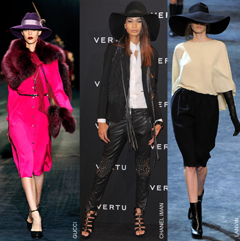 fall fashion hats gucci chanel iman lanvin klobuky Módna jeseň 2018